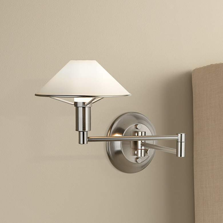 Holtkoetter Nickel-White Glass Halogen Swing Arm Wall Lamp