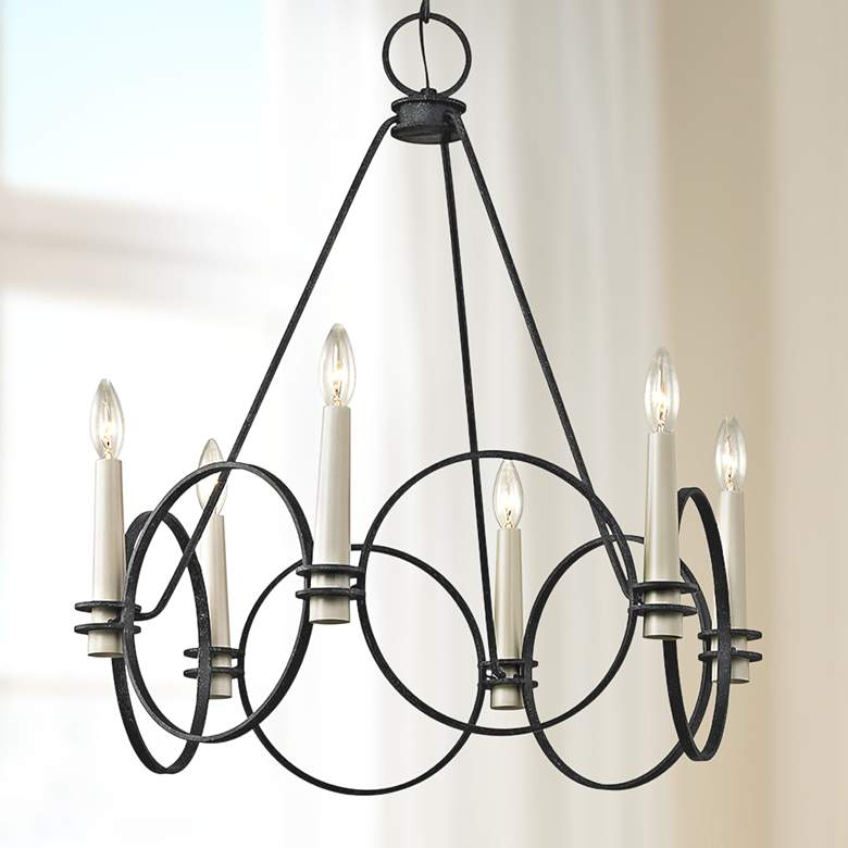 "Juliette 25 1/2"" Wide Country Iron 6-Light Chandelier"
