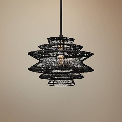 "Kokoro 15"" Wide Bronze Pendant Light"