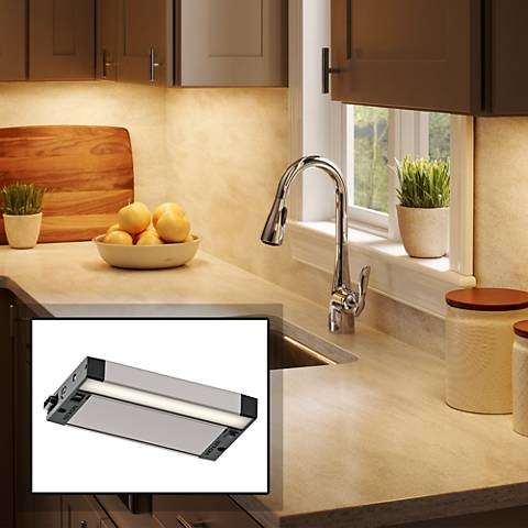 "Kichler 6U 8"" Wide Nickel Textured LED Under Cabinet Light"