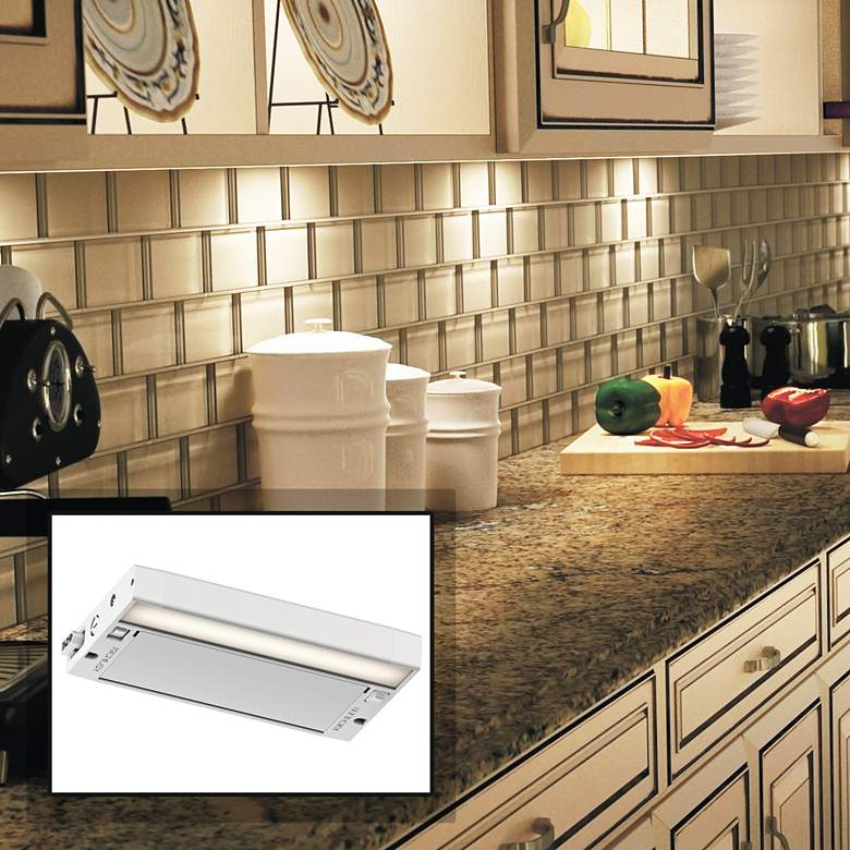 "Kichler 6U 8"" Wide Textured White LED Under Cabinet Light"