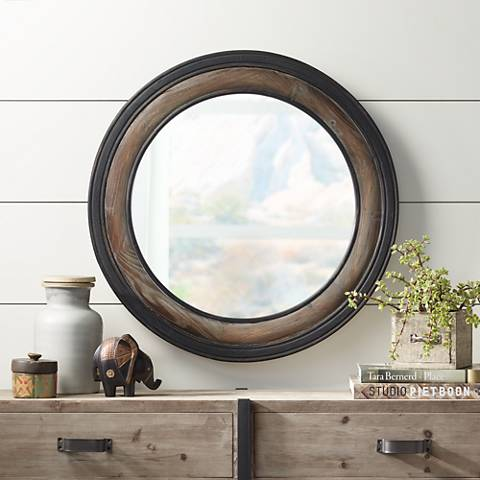 "Jordan Two-Toned Wood 30 3/4"" Round Wall Mirror"