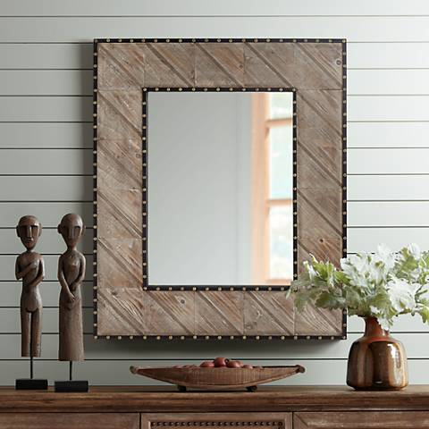 "Carina Distressed Wood 32 1/4"" x 38 1/4"" Wall Mirror"