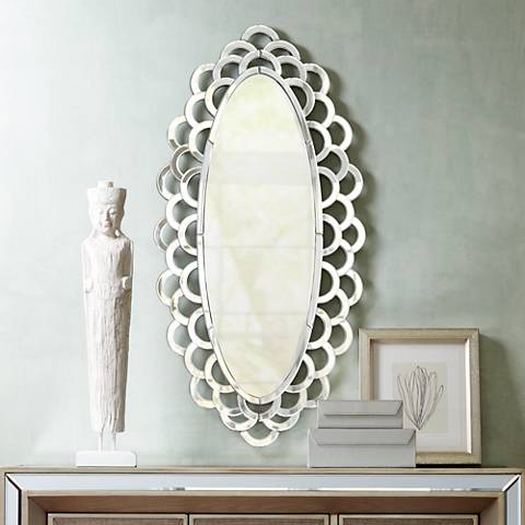 "Sasha Scallop Layered Edge 21"" x 42"" Oval Wall Mirror"