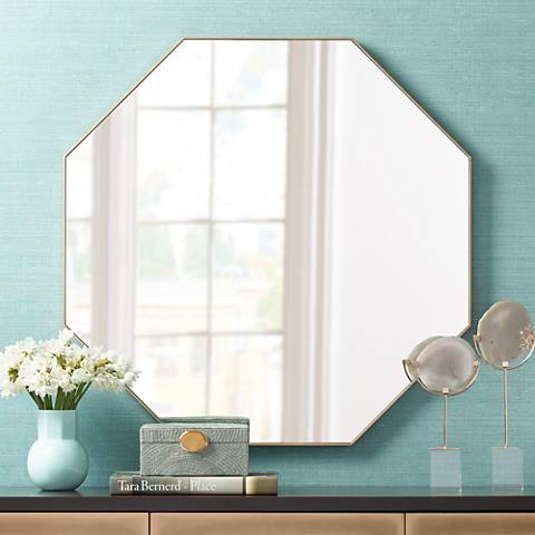 "Colin Gold 32"" Octagon Wall Mirror"