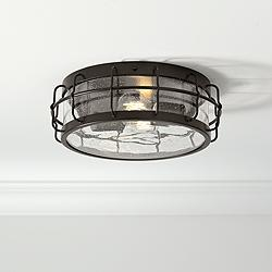 "Aya 13 1/4"" Wide Bronze Caged Metal Ceiling Light"