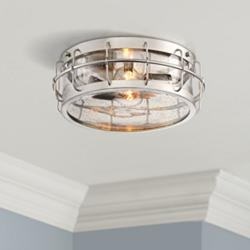 "Aya 13 1/4"" Wide Satin Nickel Caged Metal Ceiling Light"