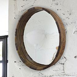 "Industria Mango Wood 30"" Round Wall Mirror"