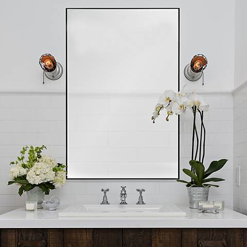 "Vale Charcoal Gray 21"" x 32"" Rectangular Wall Mirror"