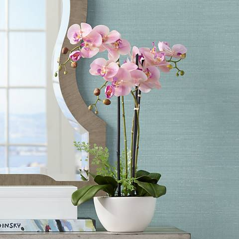 "Real Touch Pink Orchid 22"" High Faux Flowers in White Pot"