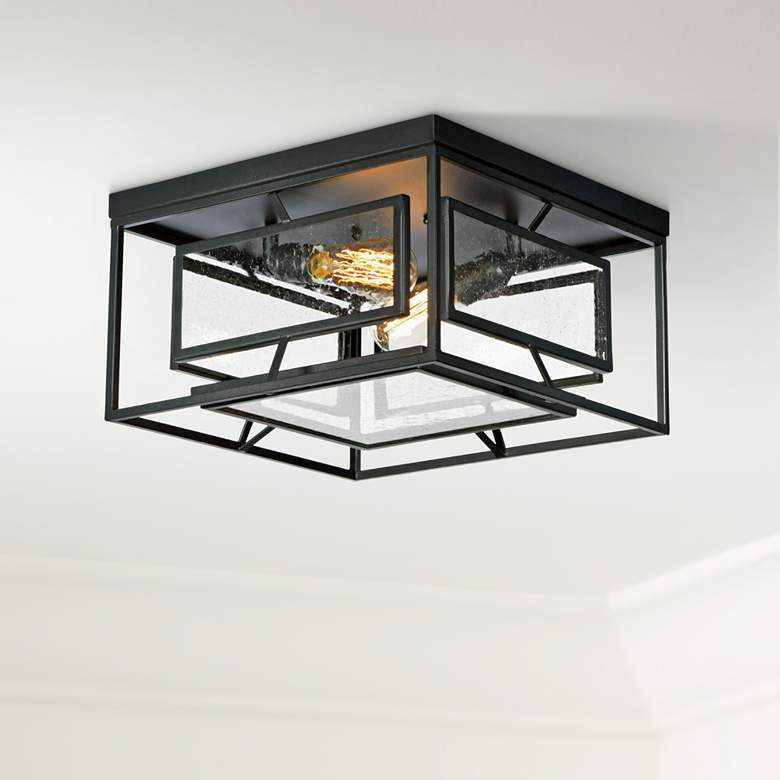 "Maxim Era 15 3/4"" Wide Black 2-Light Ceiling Light"