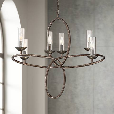 "Possini Euro Loop 28 1/2"" Wide Bronze 6-Light Chandelier"