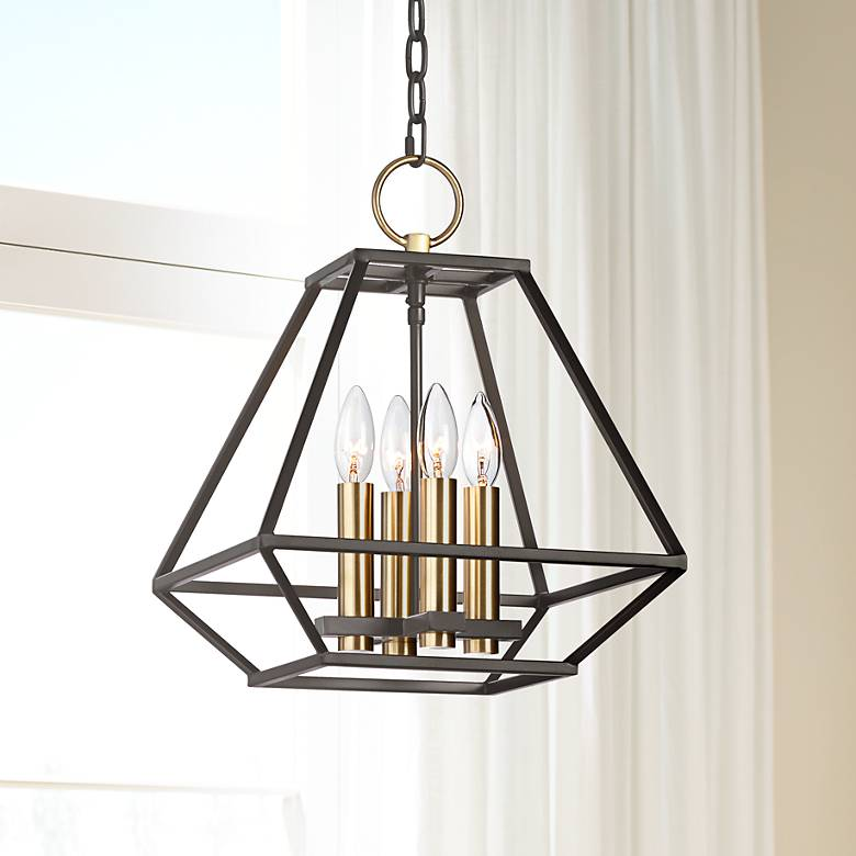 "Ivon 13"" Wide Warm Gold and Metal 4-Light Entry Pendant"