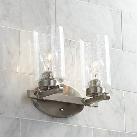 "Holman 10 3/4"" High Brushed Nickel 2-Light Wall Sconce"