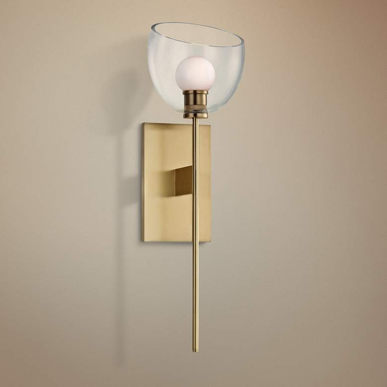 "Hudson Valley Davis 19 1/2"" High Aged Brass LED Wall Sconce"