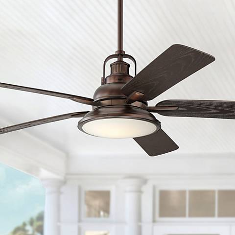 "60"" Wind and Sea Oil Brushed Bronze Wet LED Ceiling Fan"