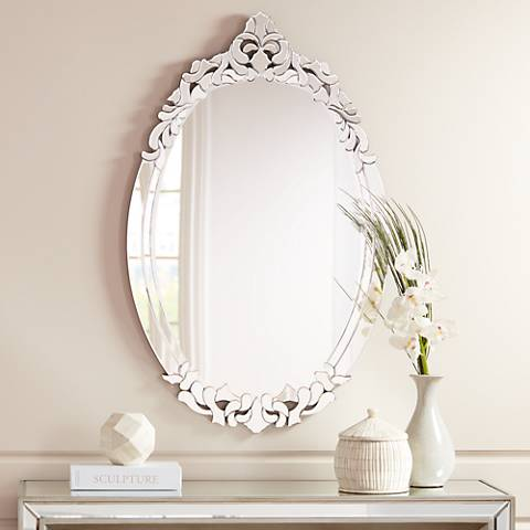 "Adrienne Accented Edge 27 1/2"" x 44"" Oval Wall Mirror"