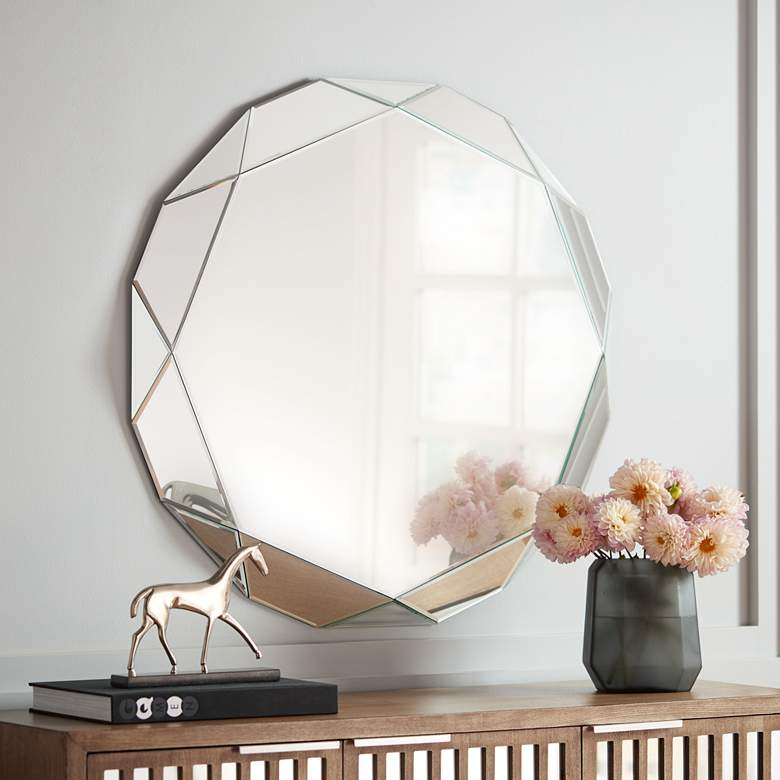 "Griffin 33"" Round Geometric Angle Cut Wall Mirror"