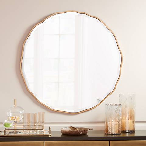 "Lissa Gold Waved Edge 31 1/2"" x 31 1/2"" Wall Mirror"