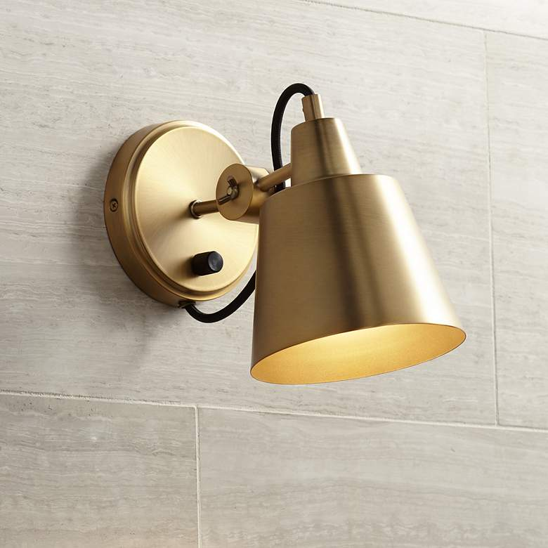 "Possini Euro Capetown 8"" High Warm Brass Swivel"