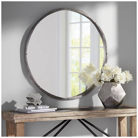 silver stacked wire 34 round wall mirror 24k90 lamps plus. Black Bedroom Furniture Sets. Home Design Ideas