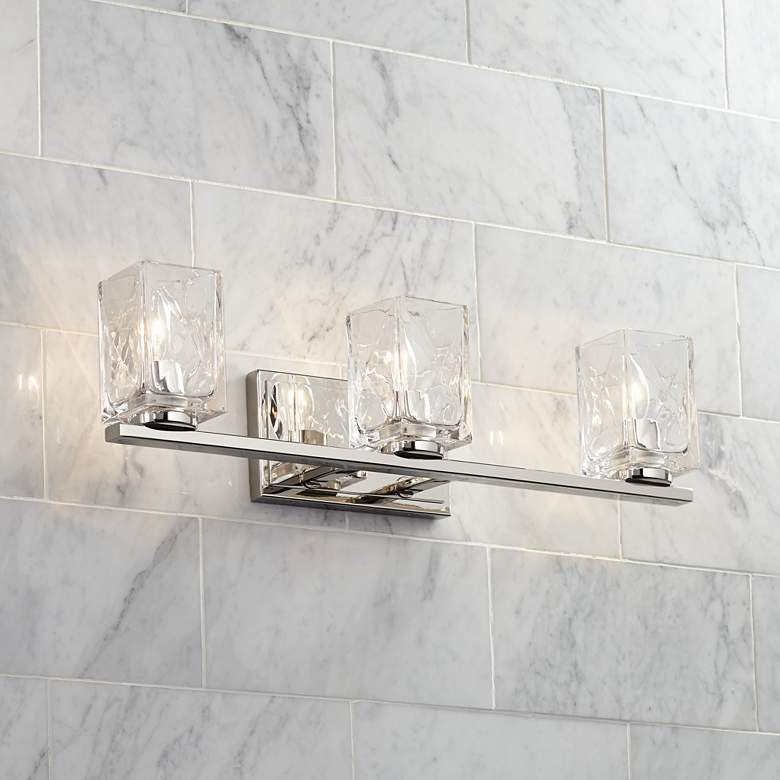 "Possini Euro Kitta 24""W Polished Nickel 3-Light Bath Light"