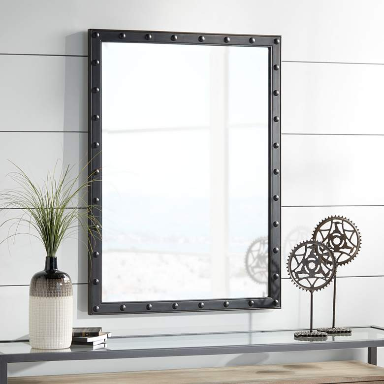 "Braddock Black 28"" x 38"" Frame Wall Mirror"