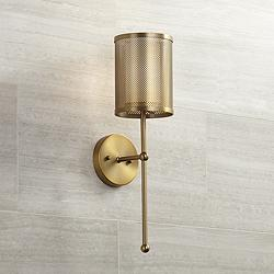 "Possini Euro Vivaldi 21"" High Warm Brass Wall Sconce"