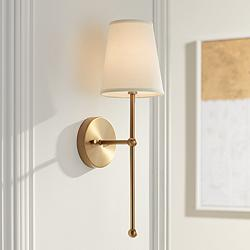 "Possini Euro Elena 21"" High Warm Brass Wall Sconce"