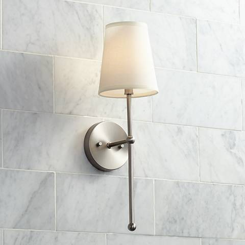 "Possini Euro Elena 21"" High Brushed Nickel Wall Sconce"