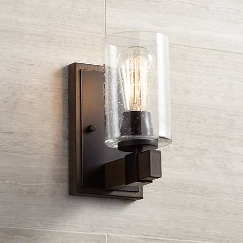 "Poetry 9"" High Seedy Glass Wood Grain Accent Wall Sconce"