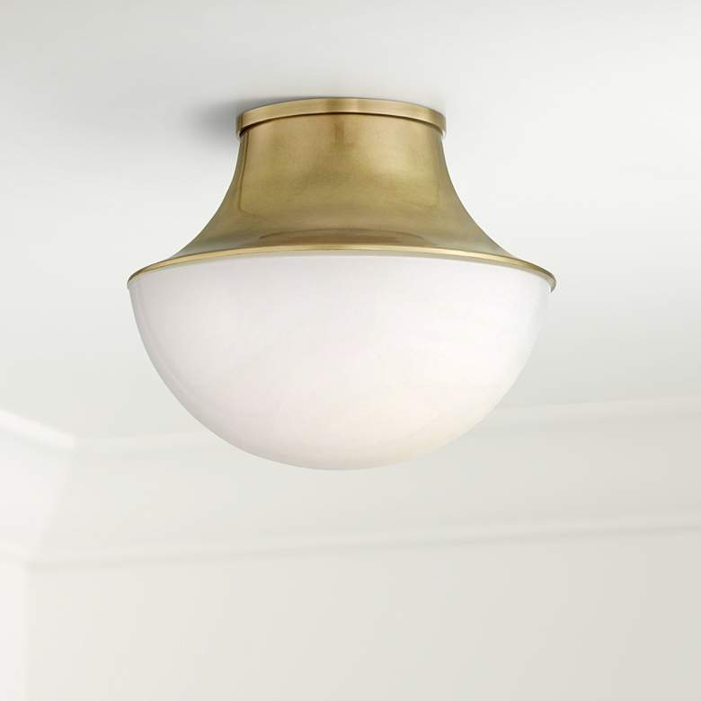 "Hudson Valley Lettie 10 3/4""W Aged Brass LED Ceiling Light"