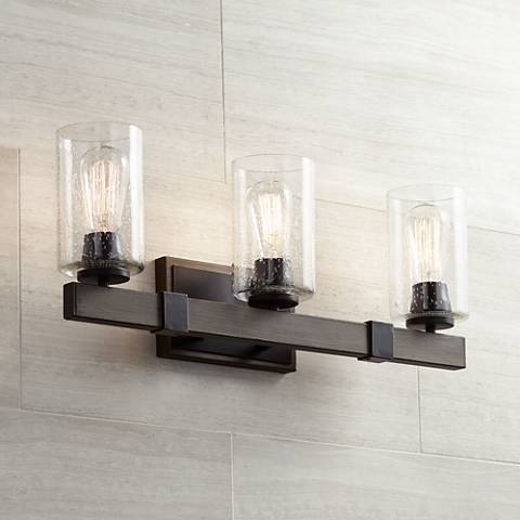 "Poetry 23 1/2"" Wide Wood Grain 3-Light Vanity Bath Light"