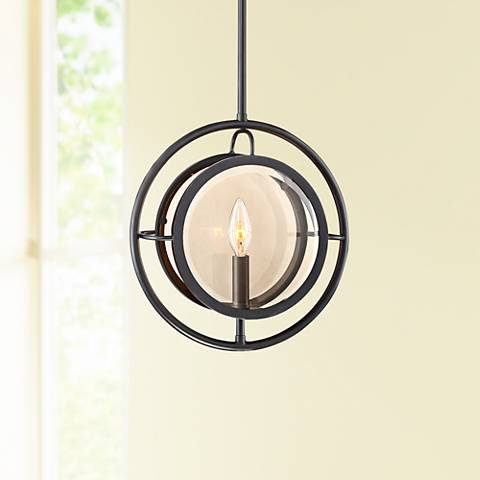 "Possini Euro Paradigm 12""W Oil Rubbed Bronze Mini Pendant"