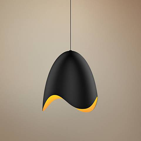 "Sonneman Waveforms 14"" Wide Satin Black LED Pendant Light"