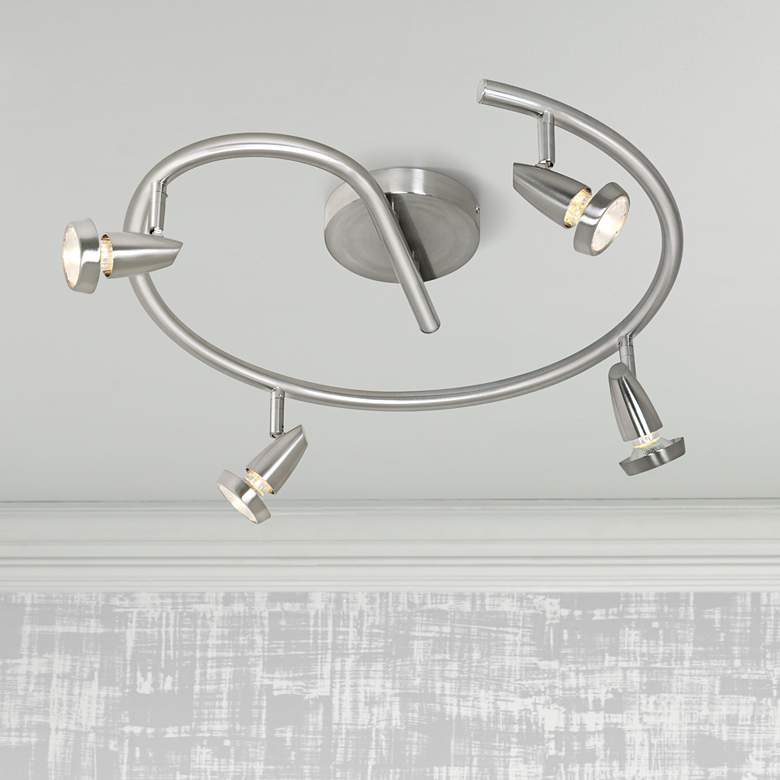 Mirage 4-Light Brushed Steel Spiral LED Track Fixture