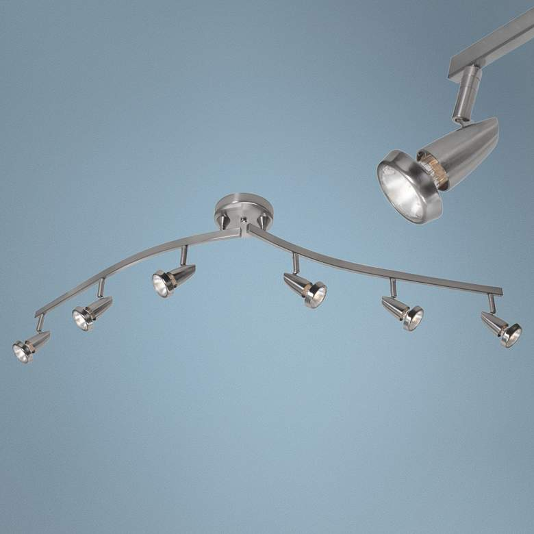 Mirage 6-Light Brushed Steel Adjustable LED Track Fixture