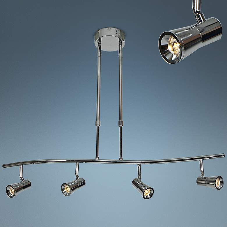 Sleek 4-Light Brushed Steel Extendable LED Track Fixture