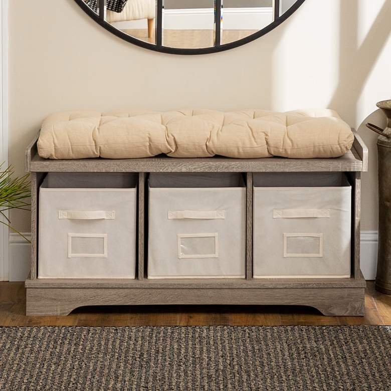 Carvallo Driftwood 3-Cubby Storage Bench with Bins