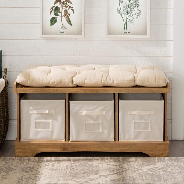 Carvallo Barnwood 3-Cubby Storage Bench with Bins