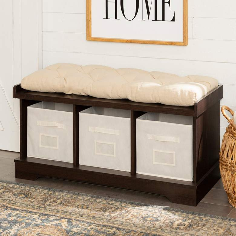 Carvallo Espresso 3-Cubby Storage Bench with Bins