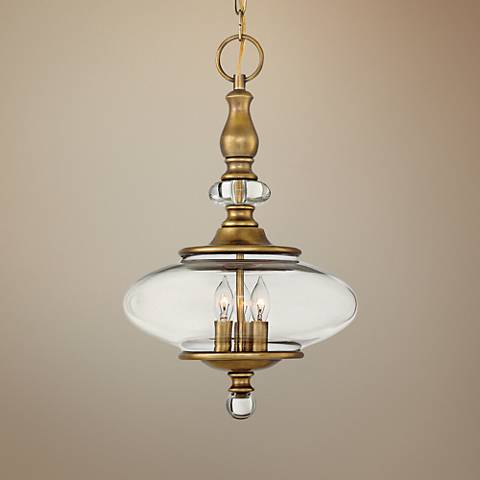 "Hinkley Wexley 12"" Wide Heritage Brass 3-Light Mini Pendant"