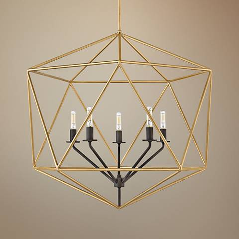 "Hinkley Astrid 28"" Wide Deluxe Gold 6-Light Chandelier"