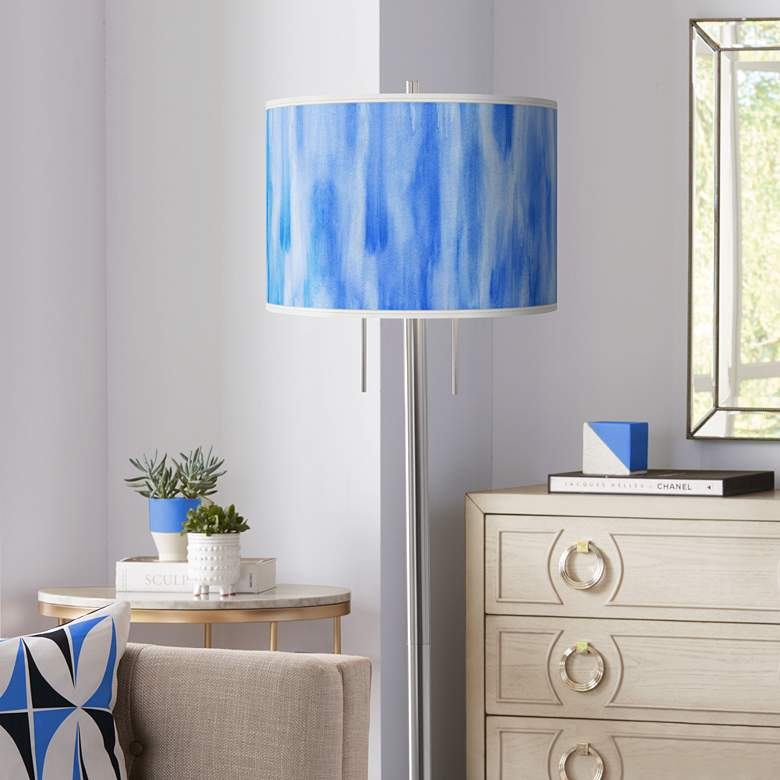 Blue Tide Giclee Brushed Nickel Garth Floor Lamp