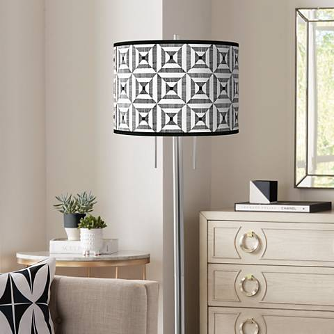 Tile Illusion Giclee Brushed Nickel Garth Floor Lamp