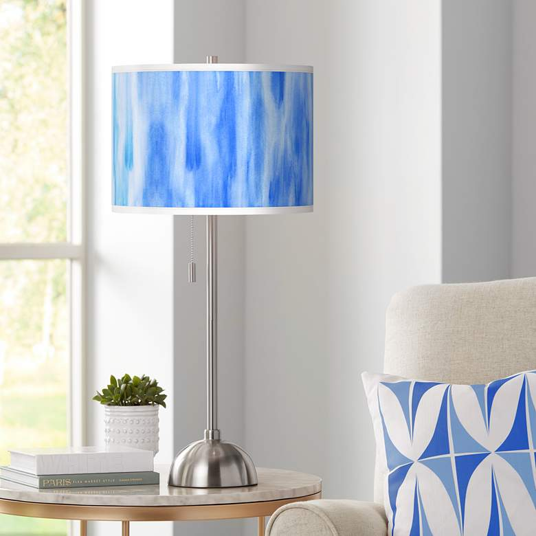 Blue Tide Giclee Brushed Nickel Table Lamp