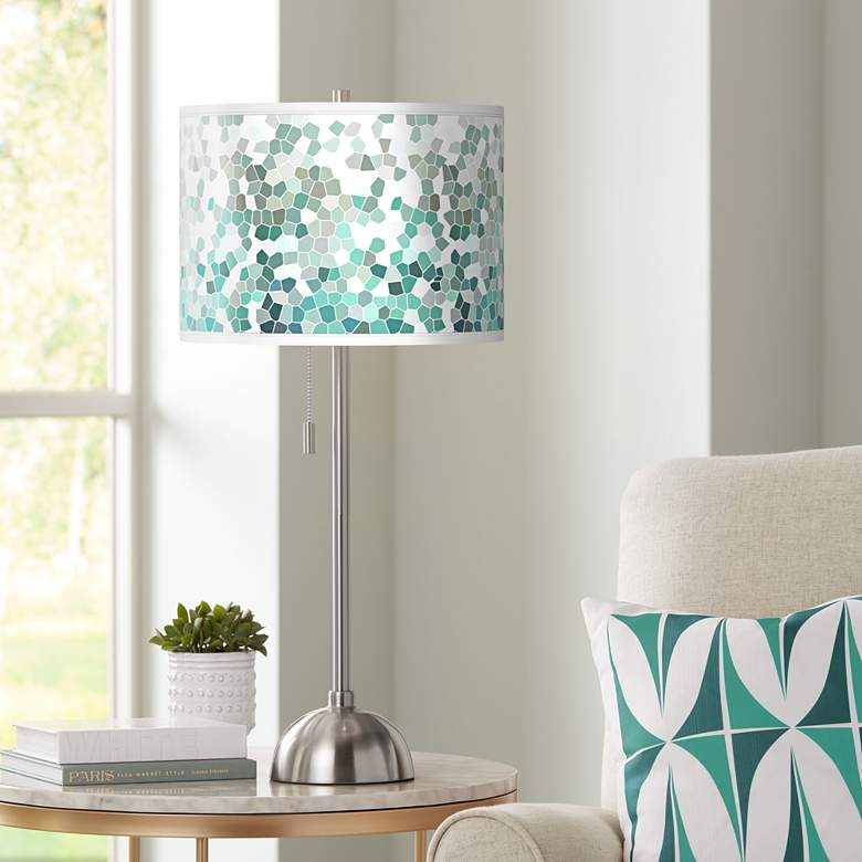 Aqua Mosaic Giclee Brushed Nickel Table Lamp