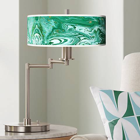 Malachite Giclee CFL Swing Arm Desk Lamp