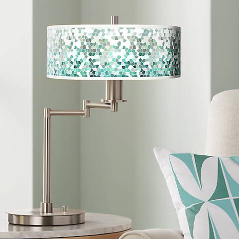 Aqua Mosaic Giclee CFL Swing Arm Desk Lamp