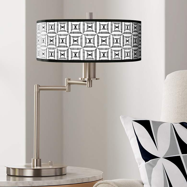 Tile Illusion Giclee CFL Swing Arm Desk Lamp